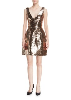 Monique Lhuillier Sequined V-Neck Cocktail Dress
