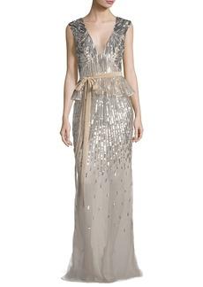 Monique Lhuillier Sequined V-Neck Peplum Gown with Velvet Belt