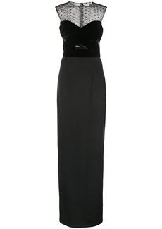 Monique Lhuillier sheer column gown - Black