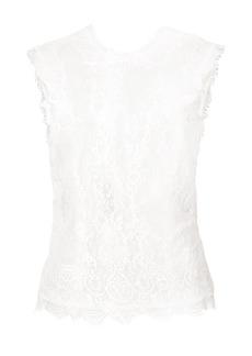 Monique Lhuillier sheer lace detail sleeveless top - Pink & Purple