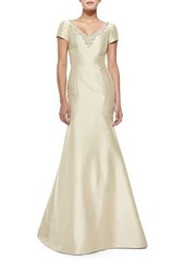 Monique Lhuillier Short-Sleeve Beaded-Neck Mermaid Gown