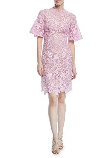 Monique Lhuillier Short-Sleeve Scalloped Lace Sheath Dress