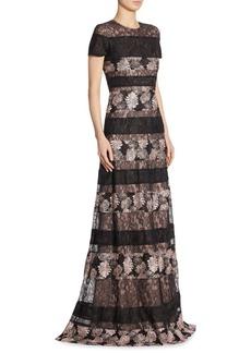 Monique Lhuillier Short Sleeves Lace Gown