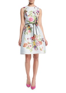 Monique Lhuillier Sleeveless A-Line Floral-Print Polka-Dot Mikado Cocktail Dress w/ Belt