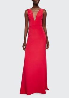 Monique Lhuillier Sleeveless Deep V-Neck Gown