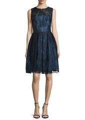 Monique Lhuillier Sleeveless Fit-&-Flare Lace Dress