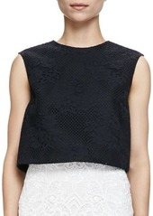 Monique Lhuillier Sleeveless Floral Mesh Crop Shell