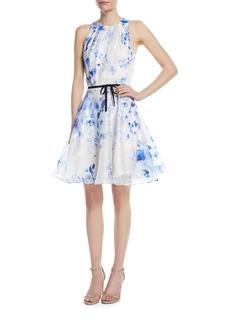 Monique Lhuillier Sleeveless Floral Taffeta Dress
