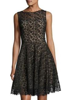 Monique Lhuillier Sleeveless Illusion A-Line Midi Dress