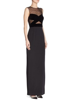 Monique Lhuillier Sleeveless Illusion Gown