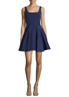Monique Lhuillier Sleeveless Silk Faille Fit & Flare Dress