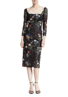 Monique Lhuillier Square-Neck Long-Sleeve Botanical-Print Lace Sheath Dress