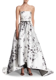 Monique Lhuillier Strapless Belted Floral-Print High-Low Evening Ball Gown