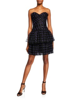 Monique Lhuillier Strapless Dotted Tulle-Tiered Cocktail Dress