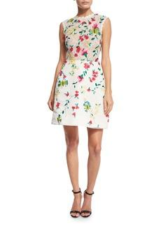 Monique Lhuillier Sleeveless Floral-Lace Cocktail Dress