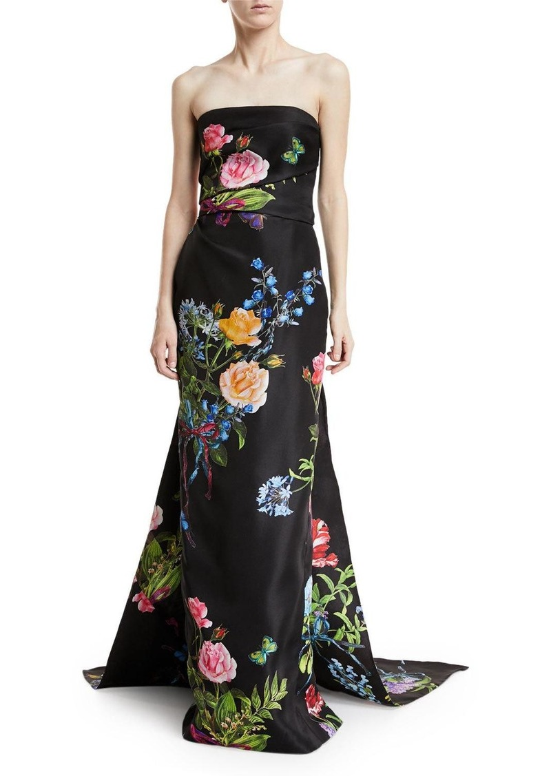 Monique Lhuillier Strapless Floral-Print Draped Evening Gown with ...