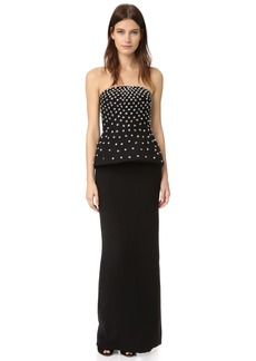 Monique Lhuillier Strapless Peplum Column Gown