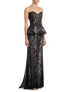 Monique Lhuillier Strapless Lace Peplum Gown