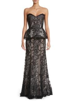 Monique Lhuillier Strapless Peplum Lace Gown