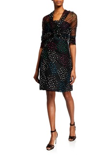 Monique Lhuillier Strapless Polka-Dot Embroidered Lace Dress