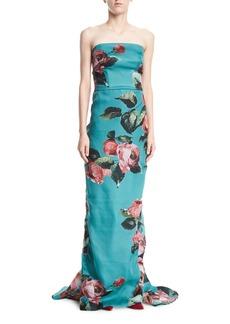 Monique Lhuillier Strapless Rose-Print Organza Column Evening Gown