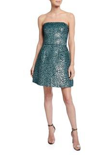 Monique Lhuillier Strapless Sequin Party Dress