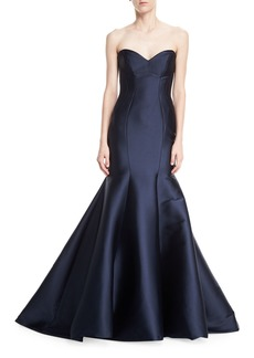 Monique Lhuillier Strapless Stretch-Mikado Trumpet Gown