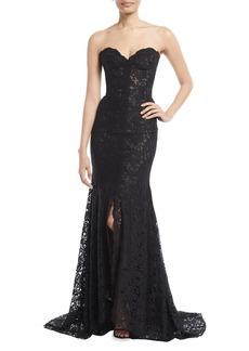 Monique Lhuillier Strapless Sweetheart-Neck Front-Slit Lace Evening Gown w/ Train