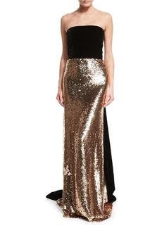 Monique Lhuillier Strapless Velvet Sequined Column Gown