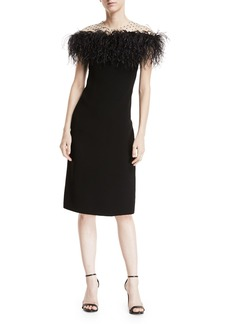 Monique Lhuillier Stretch-Crepe Illusion Sheath Dress w/ Feather Trim
