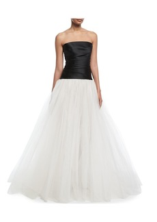 Monique Lhuillier Stretch-Mikado Strapless Bodice Evening Gown with Tulle Skirt