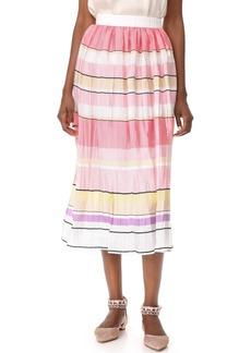Monique Lhuillier Stripe Midi Skirt