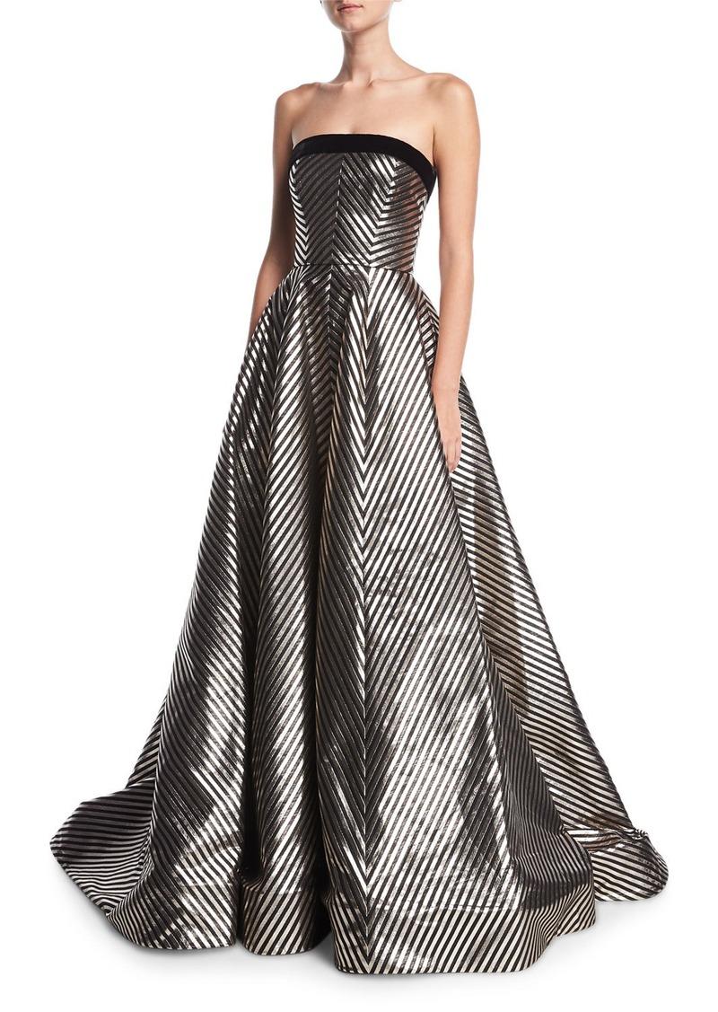 Monique Lhuillier Striped Jacquard Strapless Ball Gown