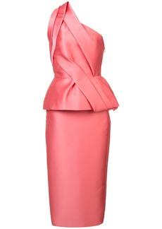 Monique Lhuillier structured one-shoulder dress - Pink & Purple