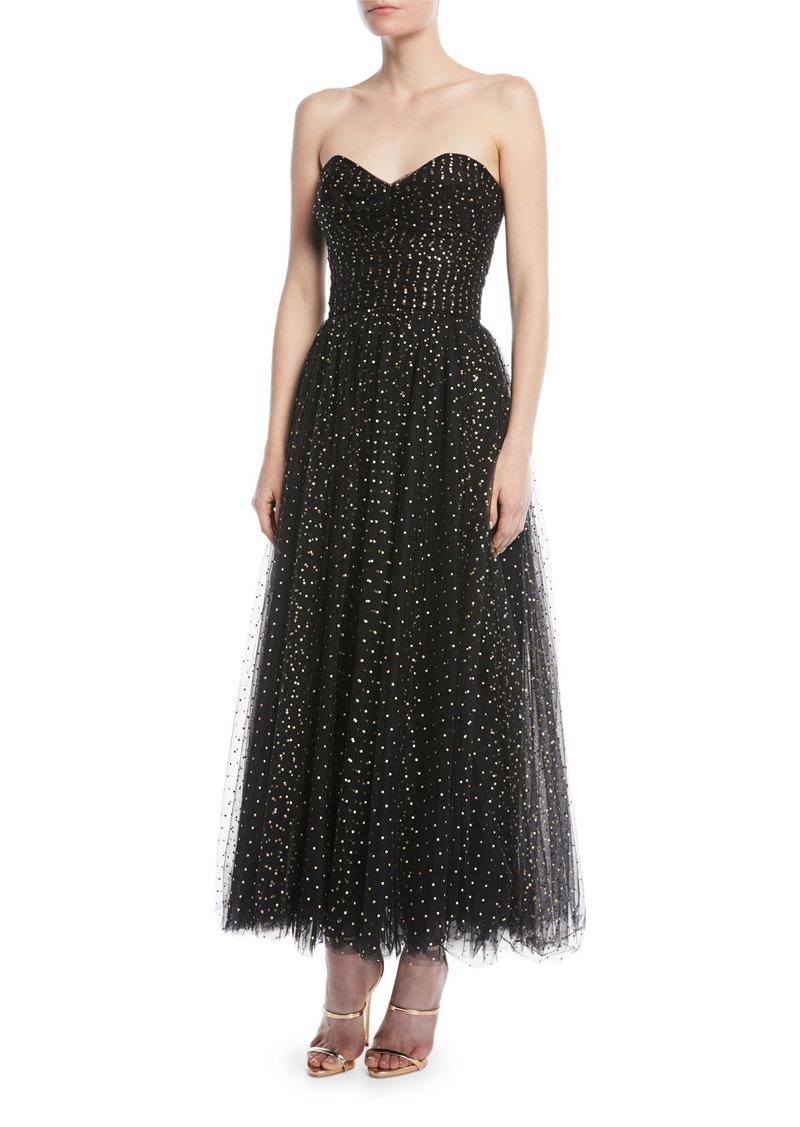 c10f080747de1 Monique Lhuillier Sweetheart-Neck Strapless Golden-Dot Tulle Cocktail Dress