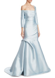 Monique Lhuillier Three-Quarter-Sleeve Trumpet Gown