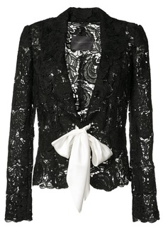 Monique Lhuillier tie-front lace jacket - Black