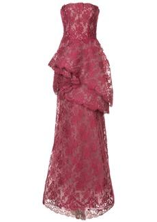 Monique Lhuillier tiered lace trumpet gown
