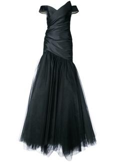 Monique Lhuillier tulle detail off-shoulder dress - Black