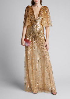 Monique Lhuillier Tulle Ruffled-Sleeve V-Neck Gown
