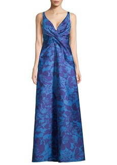 Monique Lhuillier V-Neck Floral Gown