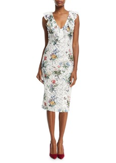 Monique Lhuillier V-Neck Sleeveless Botanical-Print Lace Guipure Sheath Cocktail Dress
