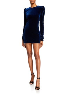 Monique Lhuillier Velour Puff-Shoulder Mini Cocktail Dress