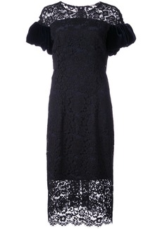 Monique Lhuillier velvet sleeve lace dress - Black