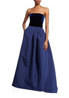 Monique Lhuillier Velvet-Top Ball Gown