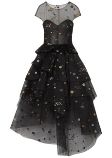 Monique Lhuillier Woman Asymmetric Tiered Glittered Tulle Gown Black