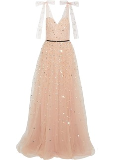 Monique Lhuillier Woman Bow-embellished Sequined Tulle Gown Blush
