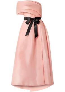 Monique Lhuillier Woman Draped One-shoulder Silk Gown Peach