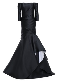 Monique Lhuillier Woman Off-the-shoulder Draped Duchesse-satin Gown Black