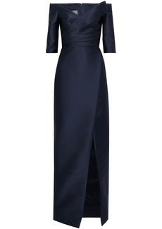 Monique Lhuillier Woman Off-the-shoulder Satin Gown Navy